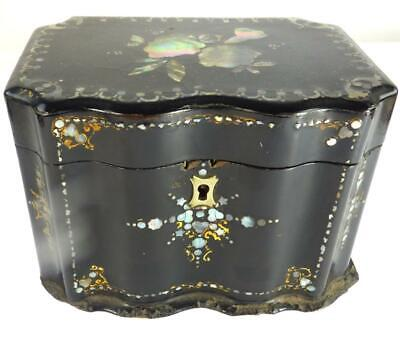 Antique Victorian Papeir Mache Mother Of Pearl Tea Caddy