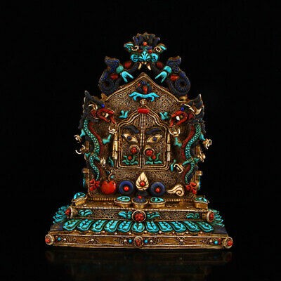 "8"" China old Tibet 925 silver inlay Turquoise gem dragon Gau ghau shrine box"