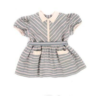 Vintage 40s Girl's Toddler Child Crisp Cotton Grey + Pink Chevron Collared Dress