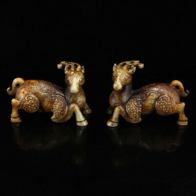 """6"""" A pair China old hetian old jade hand carving deer statue"""