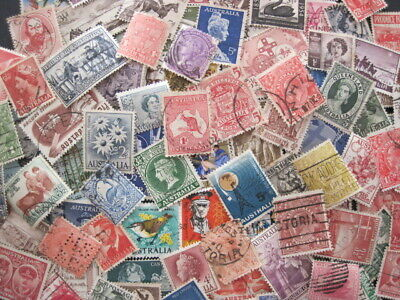 Australia Pre-Decimal 100+ used stamps. Roo, Few States, KGV all different
