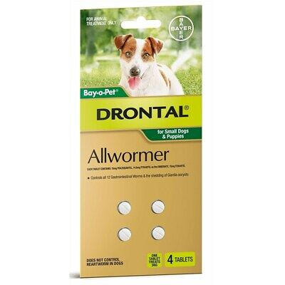 New Drontal Allwormer Tablets for Small Dogs & Puppies Pack of 4