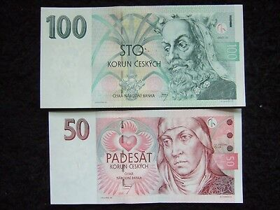 CZECH REPUBLIC 2 PCS SET 50 - 100 korun crowns 1997 UNC P 17-19 GREAT COMBO