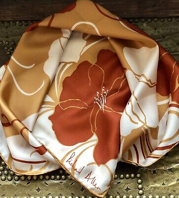 Beautiful Vintage RICHARD ALLAN Flowers Print Pure Silk Scarf Perfect!