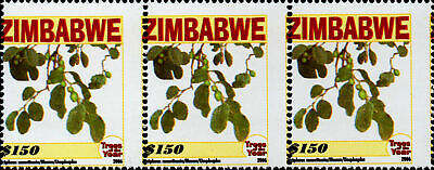 ZIMBABWE - 2006 Trees x3 strip with perf shift to the right SG1206 MNH (Br1818)