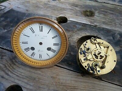 Antique French Gilt Paris clock face & movement,,J Broselot Paris J B 3919