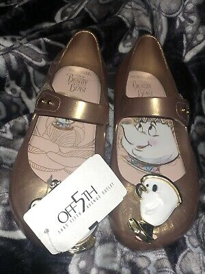 be6158387a02  Mini Melissa Size 11 Beauty And The Beast Shoes Rose Gold Mrs Potts Chip  Flats
