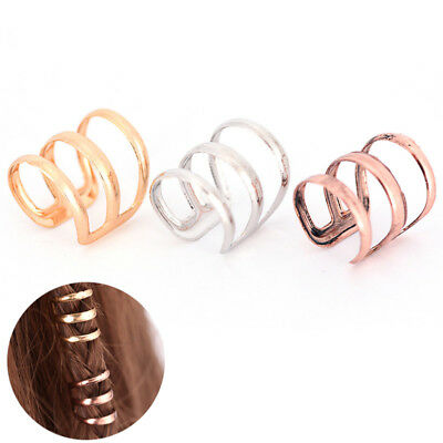 2PCS Dreadlock Perlen Tube Ring für Zöpfe Haar Bead Einstellbare Braid Cuff YR