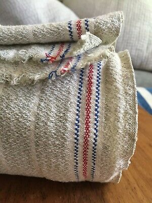 Vintage Fabric 20 feet Linen Cotton Toweling Woven Red Stripe French Farmhouse