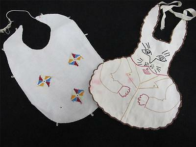 2 x Vintage 1930s Novelty Embroidered Cotton Babys Bibs - Kites & Bunny Rabbits