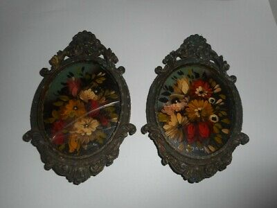 SIGNED Pair of Miniature Floral Paintings in Ornate Oval Frames - 19th Century?