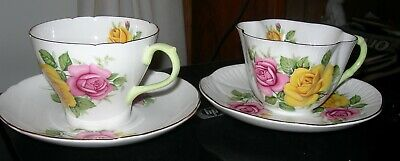 Shelley Cup And Saucer - 2 Sets - Different - Pink And Yellow Roses