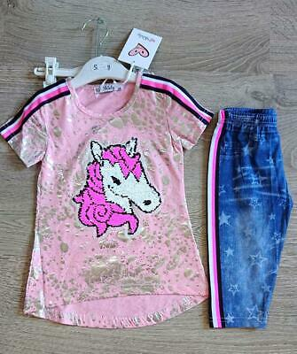 Girls Unicorn Sequin Reveal Outfit Leggings Jeggings Tshirt