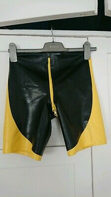 Mens Regulation London Latex shorts with Codpiece and rear zipper