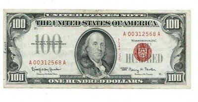 1966 $100 Dollar Bill United States Legal Tender Red Seal Note