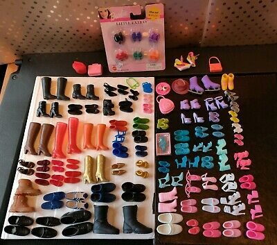 Barbie and Ken 80 pairs of shoes + Barbie little extras (new in package)