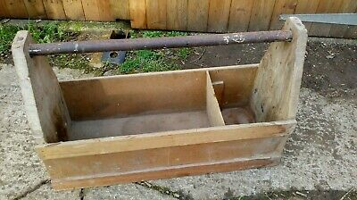 Vintage Handmade Wooden Tool Tray / Box Large carpenters rustic old stage prop ?