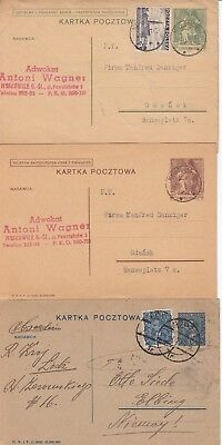 3 Poland Stationery Cards 1930's.