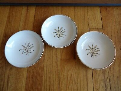 "Universal Ballerina brown golden  wheat  3 bowls 5 1/4""  gold trim vintage"