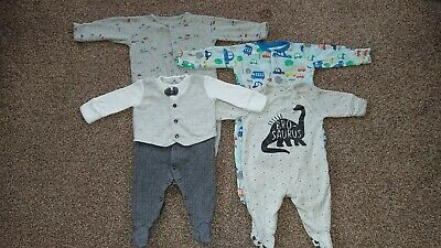4 baby boy sleepsuits 0-3 months from Next, Mothercare and John Lewis