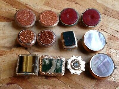 Mixed Lot Of 12 Estate Found Antique Men's Collar Stud Buttons Pairs & Singles