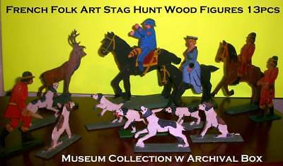Vintage Museum Toy Collection French Folk Art Stag Hunt Wood Figures 13pcs w Box