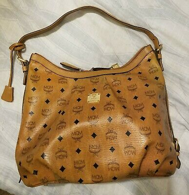 08deb28136 Authentic MCM Vintage Visetos Cognac Large Hobo Shoulder Bag + Lock   Keys
