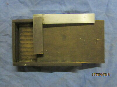 "Vintage Moore & Wright Engineers Square 4"" in Original Wooden Box"
