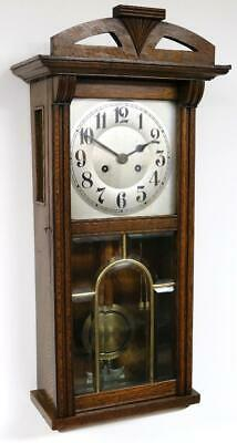 Beautiful Antique Edwardian Striking 8 Day Wall Clock Bevelled Glass Pull Repeat