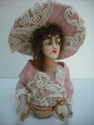 Beautiful Art Deco Wax Half Doll On Stand   Dressed With Wig &  Hat Bisque Arms