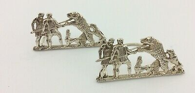 A Pair Of Antique Victorian Solid Silver Menu Holders Bear Baiting