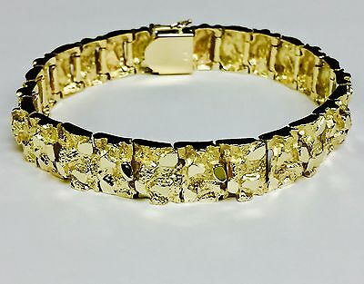 064d867ac99cb 10KT SOLID YELLOW Gold Handmade Mens ID Nugget Bracelet 25 mm 100 ...
