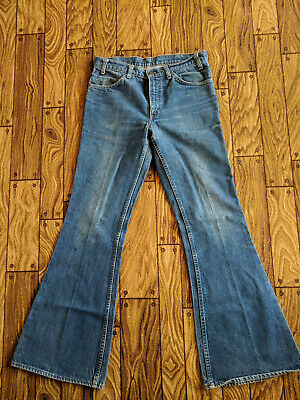 Vintage Levis Small e Orange Tab Bell Bottoms Denim Jean.