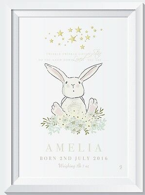 Personalised bunny Rabbit name print baby gift christening picture nursery birth