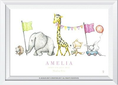 Personalised baby name elephant giraffe gift christening picture nursery art kid