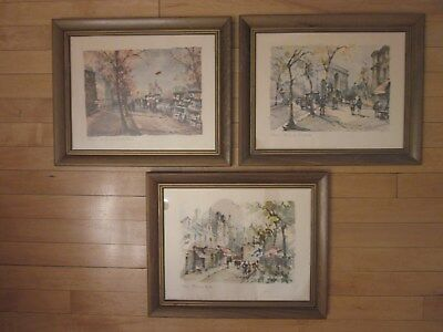 """3 Vintage Paris Art Prints Mid Century French Signed by Artists 13.5""""x16.5"""""""