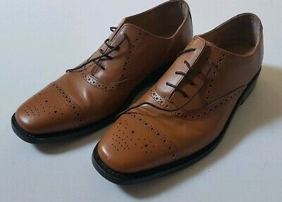 SAMUEL WINDSOR HAND MADE TAN LEATHER OXFORD BROGUES MENS SHOES ~ Size 8