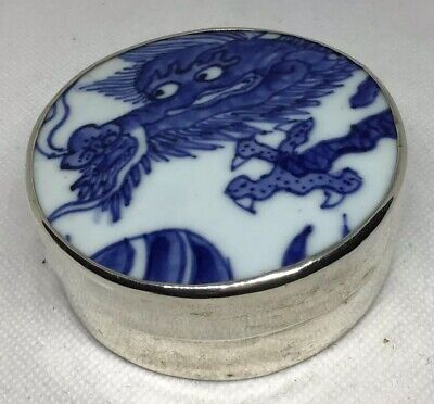 Vintage Chinese Porcelain Fragment Sterling Silver Box