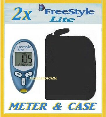 2x FREESTYLE LITE Glucose Meters Monitors, Cases and New Batteries, ABBOTT