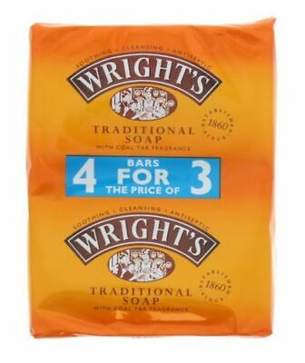 Wrights Traditional Coal Tar Soap 4 Bars - 4x125g