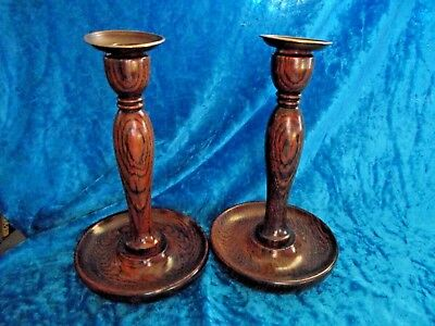 Vintage Pair Turned Oak wood candlesticks with brass Inserts