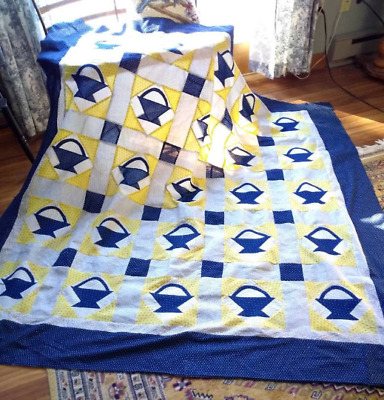 """Lovely Antique Yellow, Indigo and Shirting Basket Quilt Top 68X70"""""""