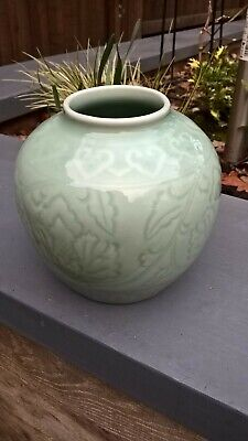 Chinese celadon pot green with lovely underglaze pattern chinese mark to base