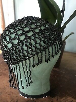 Rare VTG Antique Art Deco 1920S Fringed Skull Cap Flapper Wooden Beaded Cloche