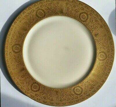 Antique H & C HEINRICH & CO SELB BAVARIA gold encrusted thick band dinner plate