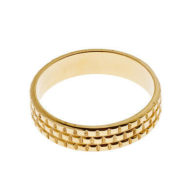 Savati ~ 18K Solid Gold Square Patterned Band Ring