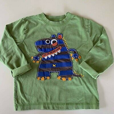 "Mini Boden Awesome Boys Green ""MONSTER"" Long Sleeve Shirt. 3-4 years. So Comfy!"