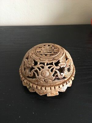 Chinese Carved Stone Box Double Dragon Fireball