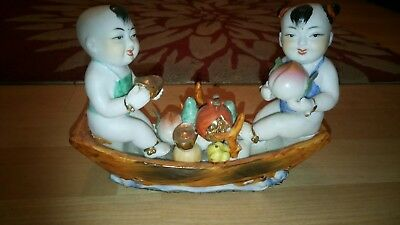 Cute Chinese Oriental Kids On Boat Ornament MUST SEE