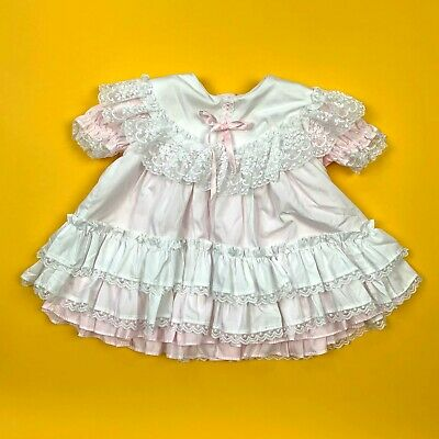 Vintage Golden Age Retro Ruffle Layered Lace Frilly Baby Girls Toddler Dress USA